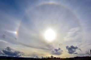 A rare sun halo caught on camera by Marian Roy from Eaglesham in East Renfrewshire. Picture: SWNS