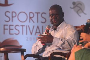 Ben Johnson speaking at the Ekamra Sports Literary Festival in India at the weekend.