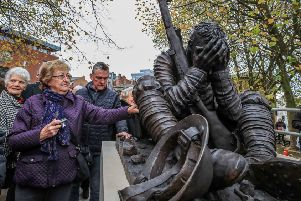 A statue of an exhausted soldier, inspired by the poetry of Wilfred Owen, was unveiled in Birkenhead on Sunday (Picture: Peter Byrne/PA)