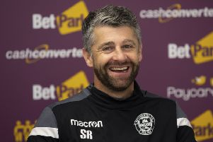 Motherwell manager Stephen Robinson speaks to the press. Pic: SNS