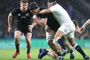 Scott Barrett of the All Blacks is tackled. Pic: Phil Walter/Getty Images