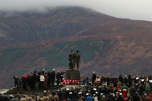 Military personnel and veterans attend a Remembrance Sunday Service at the Commando Memorial at Spean Bridge. Picture: Andrew Milligan/PA Wire
