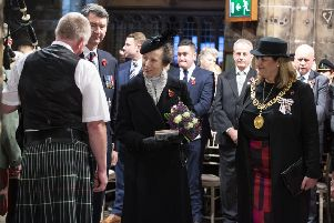 The Princess Royal was among a host of dignitaries to attend the service at Glasgow Cathedral. Picture: Lenny Warren.
