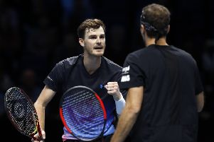 Jamie Murray celebrates winning a point with partner Bruno Soares on the way to victory at the O2 Arena in London. Picture: Getty Images