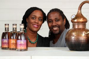 Matugga Distillers is run by husband-and-wife team Paul and Jacine Rutasikwa. Picture: Stewart Attwood.