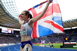Laura Muir celebrates wining gold in the 1,500m at the European Championships in August. Picture: Alexander Hassenstein/Getty Images