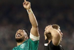 Joy for Bundee Aki of Ireland at full time.  Picture: Phil Walter/Getty Images
