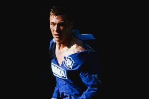 Duncan Ferguson, nicknamed Duncan Disorderly, with his shirt ripped during an Everton-Spurs match in 1997. Picture: Gary M Prior/Allsport/Getty Images