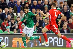 Matt Doherty takes on Ben Davies of Wales in the UEFA Nations League. Picture: Getty Images