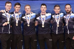 Scotland's European champions. From left: Bruce Mouat, Grant Hardie, Bobby Lammie, Hammy McMillan, Ross Whyte and team coach Allan Hannah. Picture: Raul Mee/AP