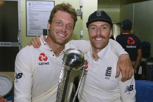England vice captain Jos Buttler and Jack Leach. Picture: Getty