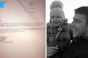 Jase Hyndman with dad James Hyndman, the now seven-year wrote a letter to his dad in Heaven and got a touching reply from Royal Mail. Picture: PA Wire