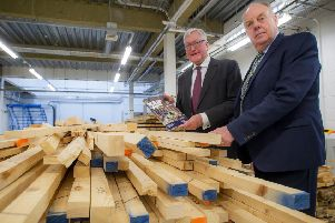 Rural economy secretary Fergus Ewing (left) and Industry Leadership Group chair Martin Gale launch the forestry industries strategy at Edinburgh Napier University. Picture: Alan Peebles