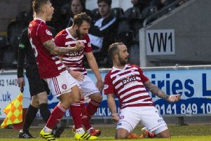 Hamilton's Dougie Imrie celebrates after scoring the opening goal. Pic: SNS/Craig Williamson