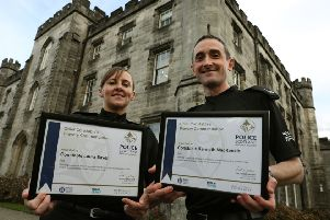 Police Constables Laura Sayer and Kenneth MacKenzie who were seriously injured during the incident in Greenock received an award for their bravery. Picture: Andrew Milligan/PA Wire
