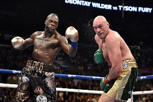 Deontay Wilder and Tyson Fury during the WBC Heavyweight Championship bout at the Staples Center in Los Angeles. Picture: PA