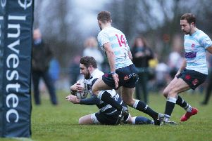 Craig Robertson crosses the Accies line to put the icing on the cake of a comfortable win for Heriot's. Picture: Graham Stewart/SNS/SRU