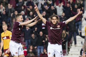 Peter Haring celebrates his goal. Pic: SNS/Ross Parker
