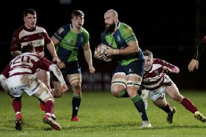 Watsonians' DJ Innes and Boroughmuir's Rory Drummond. Pic: SNS/SRU/Graham Stuart