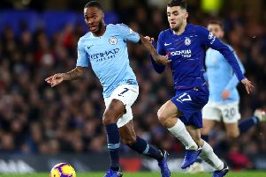 The English PFA has praised Manchester City forward Raheem Sterling for his restraint as he was racially abused at Stamford Bridge. Picture: Getty.