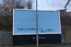 The vandalism scrawled outside Partick train station in Glasgow