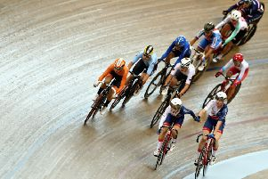 Katie Archibald, bottom right, and Laura Kenny compete in the Madison at the European Championships in Glasgow in August. Picture: Bryn Lennon/Getty