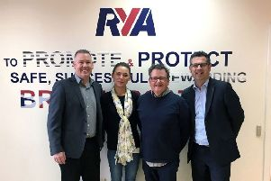 From left: Powercases managing partner Taylor Angus; RYA membership development manager Conor Lee-Swift; RYA membership operations and administration officer Jessica Lawler and Powercases' Peter Waggott. Picture: Contributed