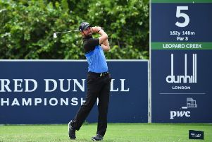 Scott Jamieson tees off on the 5th hole during day two of the Alfred Dunhill Championships at Leopard Creek in South Africa. Picture: Stuart Franklin/Getty
