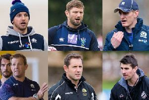 Super 6 coaches: Top L to R: Ciaran Beattie, Steve Lawrie, Ben Cairns. Bottom L to R: Graham Shiel, Rob Chrystie, Peter Murchie.