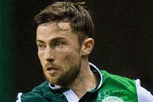 Lewis Stevenson in action for Hibernian. Pic: SNS
