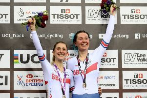 Katie Archibald, right, and Laura Kenny of Great Britain celebrate after winning the women's Madison final in London. Picture: Steven Paston/PA