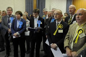 Tory and SNP members stand awaiting the results of a by-election in the Bonnybridge and Larbert ward of Falkirk Council in February. The seat was eventually won by the Nationalists. Picture: Michael Gillen