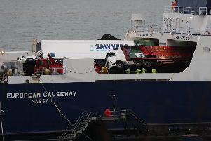 Several ambulances were sent to the scene along with police, the fire and rescue service and the coastguard, after six vehicles shifted on board the ferry, causing damage. Picture: Andrew Millligan/PA Wire