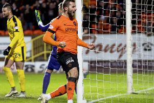 Dundee United's Pavol Sanfranko celebrates doubling the lead. Pic: SNS/Alan Rennie