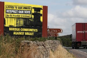 Anti Brexit billboards on the northern side of the border between Newry in Northern Ireland and Dundalk in the Republic of Ireland.