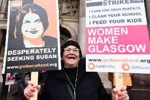 Council workers across Glasgow stage one of the UK's biggest strikes over equal pay. Picture: John Devlin