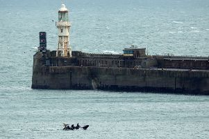 A UK Border Force boat patrols Dover Harbour amid a 'major incident' over a handful of people crossing the English Channel (Picture: Christopher Furlong/Getty Images)