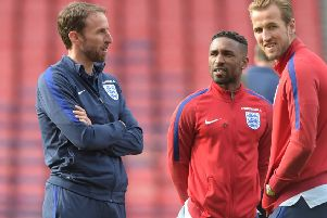 Jermain Defoe, centre, with 'England manager Gareth Southgate and Harry Kane at Hampden. Picture: Alan Harvey/SNS