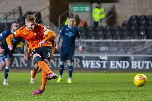 Dundee United's Fraser Fyvie levels the scoring from the penalty spot. Picture: Bruce White/SNS