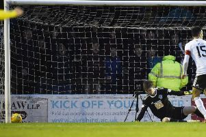 Ayr United goalkeeper Ross Doohan looks on as Zak Rudden's effort nestles in the corner of his net. Picture: Rob Casey/SNS
