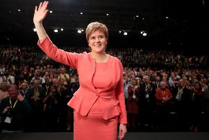 First Minister Nicola Sturgeon after making her keynote speech on day three of the SNP autumn conference at the SEC, Glasgow.