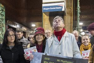 Scottish Labour leader Richard Leonard was among those 'at the protests outside Glasgow Central station yesterday. Picture: Jane Barlow/PA Wire