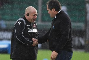 Edinburgh coach Richard Cockerill, left, and Glasgow's Dave Rennie are focused on reaching the Heineken Champions Cup quarter-finals. Picture: SNS/SRU.