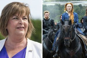 The Culture Secretary Fiona Hyslop (L) has said the new Mary Queen of Scots movie offers a great opportunity for Scotland's tourism sector.