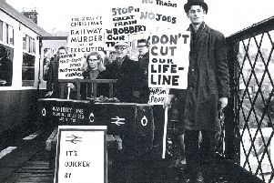 Protesters at Hawick Station with a mock coffin demonstrating against the closure of the Waverley route in 1969. Picture: Southern Reporter