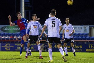 Inverness Caley Thistle's Jordan White heads in the only goal of the game. Picture: Ross MacDonald/SNS