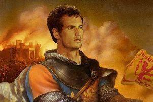 Andy Murray as heroic English king Henry V, an artwork by Nial Smith based on an original painting by Kinuko Y. Craft