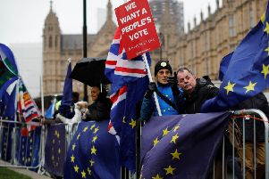 Demonstrators call for a 'People's Vote' on whether the UK should press ahead with Brexit (Picture: Tolga Akmen/AFP/Getty)