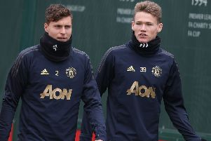Scott McTominay, right, with Victor Lindelof at training. Picture: Getty Images