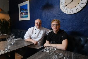 Head chef Bryan Coghill and his son Jack, pastry chef, within the new restaurant in Dunfermline. Picture: Jim Payne